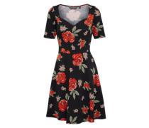 Blumenkleid rot / schwarz