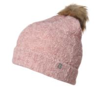 Strickmütze mit Bommel pink