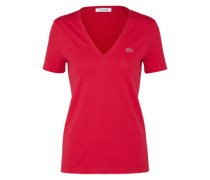 T-Shirt mit Label-Applikation dunkelpink