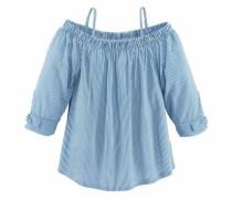 Carmenshirt hellblau / weiß