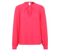 Bluse mit gerafftem Kragen pink