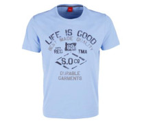 T-Shirt mit Used-Print blau