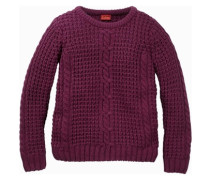 Pullover mit Zopfmuster rot