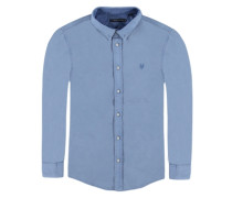Hemd langärmlig Jungen Kinder blau