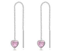 Paar Ohrhänger 'Herzen' rosa / silber