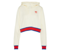 Sweatshirt 'EA Cropped Hoodyhalf ZIP Graphic' beige / rot