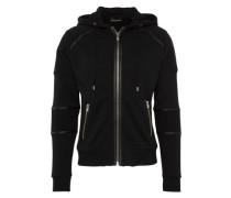 Sweatjacke mit Details in Leder-Optik schwarz
