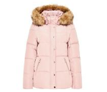 Daunenjacke mit Kapuze und Fake-Fur pink