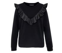 Sweatshirt mit V-Rüsche schwarz
