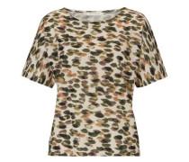 Shirt mit allover Muster beige / dunkelgrün