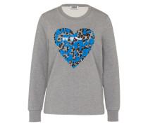 Sweatshirt 'Printed Heart' blau / grau