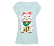T-Shirt 'Big Kitty' hellblau