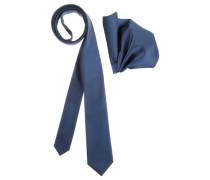 Krawatte (Set mit Einstecktuch) blau