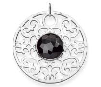 Kettenanhänger 'Schwarzes Ornament Pe763-024-11' schwarz / silber