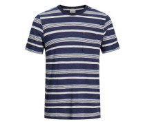 T-Shirt blau / grau / weiß