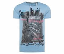 T-Shirt rauchblau / schwarz / pink