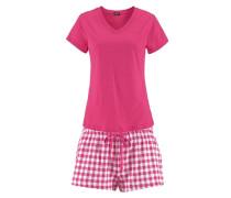 Shorty im Karo-Look reine Baumwolle pink / weiß