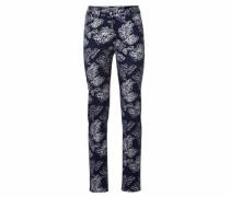 Bodyform-Druckhose mit Blumendessin nachtblau / weiß