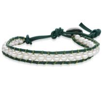 Armband dunkelgrün / perlweiß