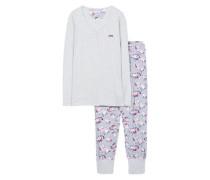 Schlafanzug 'Emily Cas' grau / mischfarben
