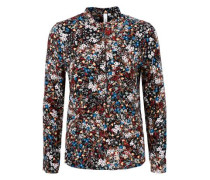 Bluse mit Melange-Printmuster dunkelrot / schwarzmeliert / weiß
