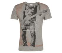 Tshirt 'Print tee biker S/s' anthrazit / graumeliert / dunkelorange