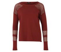 Sweatshirt mit Spitzeneinsätzen rot