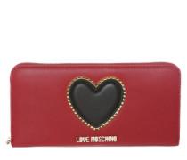 Portemonnaie mit Herz-Applikation rot