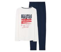 Schlafanzug 'Calina' dunkelblau / weiß
