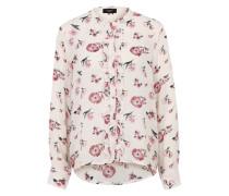 Bluse mit Allover-Print rosa / weiß