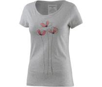 T-Shirt 'Mari Bouquet' mit Blumen-Print hellgrau / hellrot / schwarz