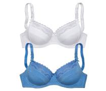 Bügel-BH (2 Stück) hellblau / weiß