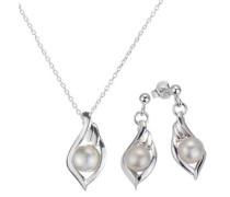 Schmuckset: Ohrstecker und Halskette mit Perle (4tlg.) silber