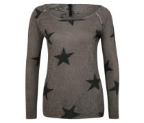 Viskose Pullover mit Sternen grau / schwarz