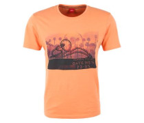 T-Shirt mit Foto-Print orange / schwarz