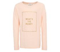 Shirt 'fabric mix T-Shirt with print' puder / weiß