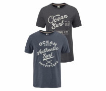 T-Shirt marine / dunkelgrau