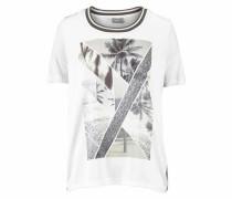 T-Shirt 'Roana' grau / schwarz / silber / wollweiß