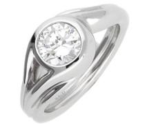 Damen Fingerring Silber Glamour Solitaire Esrg92036A silber