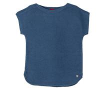Gerippter Kurzarm-Pullover blau