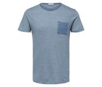Streifen T-Shirt navy / rauchblau