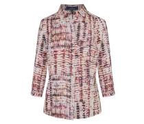Bluse mit grafischem Muster creme / helllila / burgunder