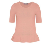 Halbarm-Pullover mit Volant pink