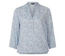 Bluse mit 3/4-Arm und Blumenmuster hellblau
