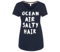 T-Shirt mit Schriftzug navy / weiß