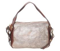 Umhängetasche in Metall-Look braun / silber