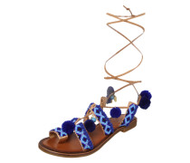 Sandale mit Perlenbesatz azur / cognac