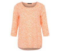 Blusenshirt mit Allover-Print weiß / orange