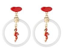 Ohrringe 'Nadika' gold / rot / weiß