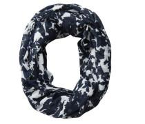Bedruckter Schlauchschal dunkelblau / weiß